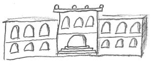 Zeichnung einer traditionellen Hochschule