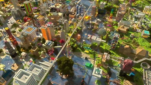 Eine Stadt in Minecraft