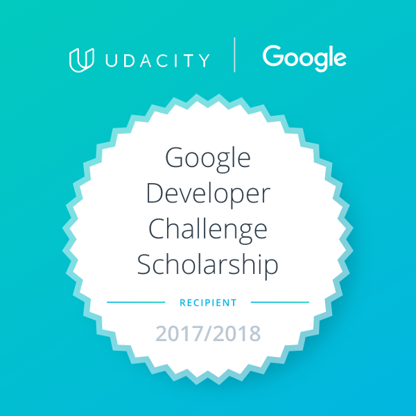 Badge Google Developer Challenge Scholarship Recipient